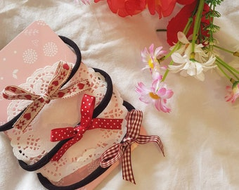 Dainty Ribbon Bow Set in Reds and Creams, Baby Headbands, Clips