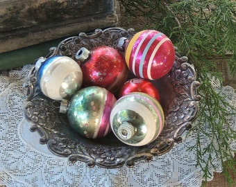 Vintage Blown Glass Christmas Tree Ornaments Set of 6  Shiny Brite Mercury Glass Ornaments Tree Trimming Holiday Decor Christmas Tree