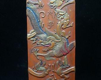 "Rare Large Old Chinese Red Zinnober Ink Stick Inkslab ""HuKaiWen"" Mark"