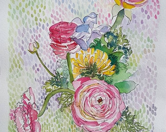 Florals on Point original 8 by 10 watercolor of Ranunculas