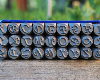 Corsiva Metal Stamps-Uppercase  6mm-LARGE -  Steel Stamps for Metal -Personalized Jewelry-Monogram Style or Script 1/4 inch