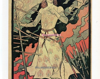 French Poster - Sarah Bernhardt /  Jeanne Darc 1893 Grasset Stage Play 1968 Reproduction Print 8-1/2 x 12