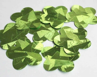 15 pcs Abstract Texture Effect / Lime Green Color / Big Flower Sequins/ PBF 489/ Jewellery supplies/Craft supplies/Beads