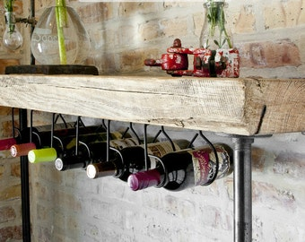"4 ft Industrial Reclaimed Wine Bar and Rack/Console Table with Pipe Legs and Thick 2.5"" Top (48""L x 11.5""w x 35""h)"