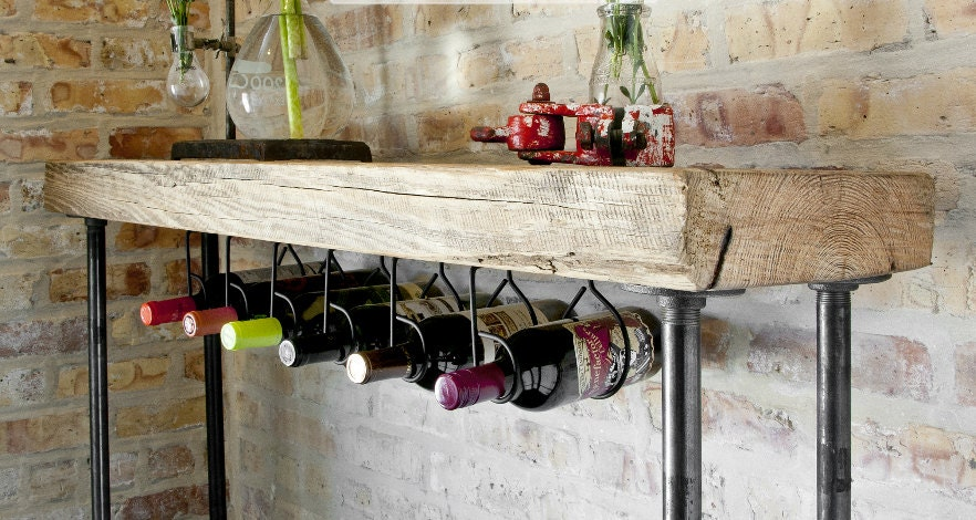 Industrial Reclaimed Wood Console Table/Wine bar with pipe