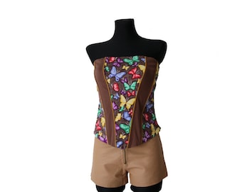 Brown Cotton Corset Floral Print  with Butterflies Open Back Top Medium Size