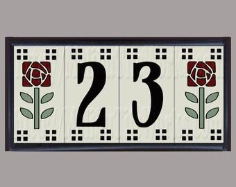 Craftsman Rose House Numbers, Address Tiles, Framed Set, Craftsman, Rose