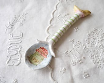 Small Ceramic Clay Spoon with Painted Jam Jar, Green Stripes and Yellow Sculpted Bird