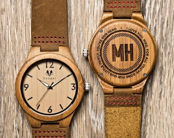 Gifts for Him, Personalized Wooden Watch - Engraved Bamboo Wood Watch