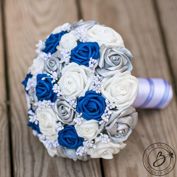 Royal Blue And Silver Wedding Flowers: Royal Blue Wedding Bouquet Royal Blue And Silver Bouquet