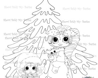 INSTANT DOWNLOAD Digi Stamps Big Eye Big Head Dolls Digi Bestie Winter Tree By Sherri Baldy