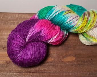 Twinkle Toes- Hand Painted-Hand Dyed- Superwash Merino- Glitz- Nylon- Fingering weight yarn- 463yards- Pink Fluffy Unicorns