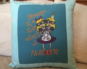 Handmade Embroidered Circus Pillow.  Made from upcycled repurposed shirts.