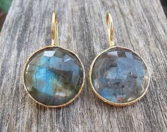 Bohemian Labradorite Dangle Earrings- Round Irirdescent Festive Earring- Colorful Drop Earring- Sterling Silver Earring