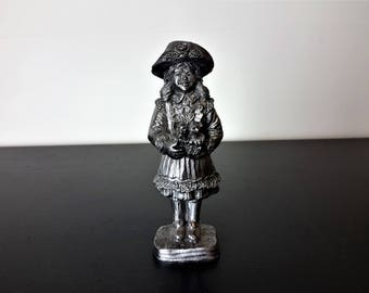 RB Ricker Pewter Girl With Basket With Pair Of Owls Figurine Rare USA Made Stocking Stuffer Gift 619