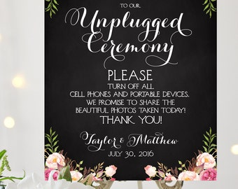Welcome to our Unplugged Ceremony Sign | Various Sizes | Add Your Names | Vintage | Chalkboard | I Create and You Print