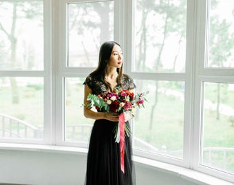Sale wedding dress, Sample Sale, Black wedding dress, Gothic wedding dress, Custom black wedding dress, Lace black wedding  0100 // 2017