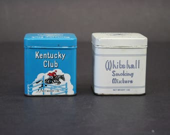 Vintage Small Square Kentucky Club Fine Tobacco Tins, Set of 2 (E9184)