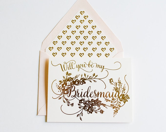 Will you Be My Bridesmaid Card Gold on Cream Paper