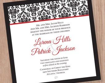 Damask Wedding Invitation (DIGITAL FILE)