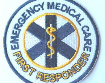 Emergency Medical Care First Responder Patch First Aid Paramedic Badge Red Cross Ambulance Applique Fancy Dress Costume Shirt Jacket Bag