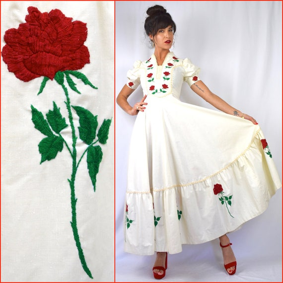 Vintage 50s 60s STUNNING Long Stemmed Red Rose Embroidered Mexican Wedding Dress (size xs, small)