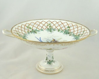 Antique French Porcelain Compote Bowl / Hand Painted Decoration Birds Gilt Lattice & Ivy / Sevres Style/ C 1870 / Wedding or Gift for Her