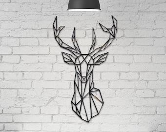 Stag's Head, Wall Decor Geometric Wall Art, Home Decor, Home and Living Acrylic Wall Hanging