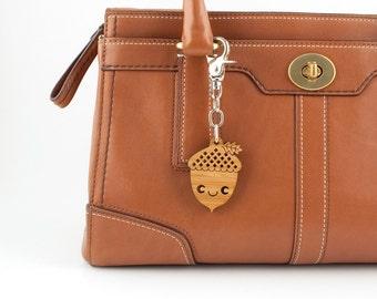 Wood Acorn Bag Charm: Bamboo Kawaii Purse Handbag Charm, Woodland Zipper Pull