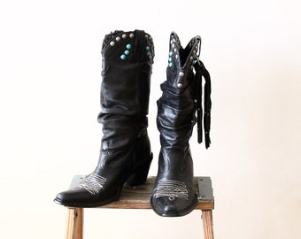 black leather boots - vintage cowgirl boots - studded turquoise - womens western boots - Steve Madden - US size 7