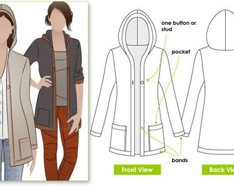 Heidi Hooded Cardi - Sizes 18, 20 & 22 - PDF Sewing Pattern by Style Arc for Printing at Home