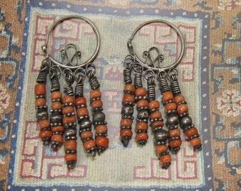 Uzbek Earrings. Coral, Silver. Asian Ethnic Jewelry circa 1950. Chandelier/Hoop/Dangles. Tribal/Boho/Gypsy. Vintage Gift for Women.