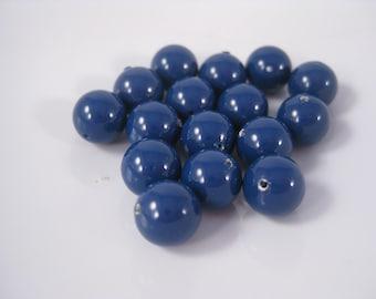 8mm Dark Lapis Blue Round Swarovski Crystal Pearl Beads (Package of 12)