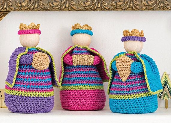 Amigurumi Nativity Español : Three wise men crochet pattern crochet nativity modern nativity