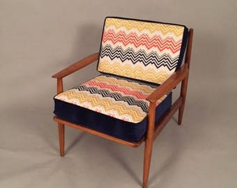 Mid-Century Arm chair restored with new Upholstery