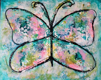 """BE FREE Large Expressionist Abstract Art. 20"""" x 24"""" Acrylic Painting, Butterfly"""