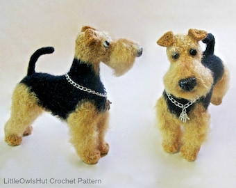 102 Welsh Terrier dog with wire frame - Amigurumi Crochet Pattern PDF file by Chirkova Etsy