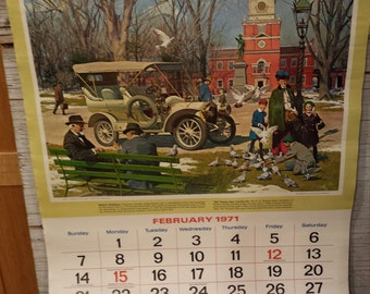 Petroliana - Humble Oil & Refining Company 1971 ESSO Great Moments in Early American Motoring Calendar