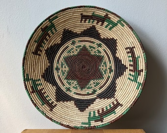 Natural Rust & Turquoise HandWoven 13 - 15 Inch / Pakistani Basket / South Western / Aztec / Mexican/ Wall Decor, Wall Art, Tribal, SeaGrass