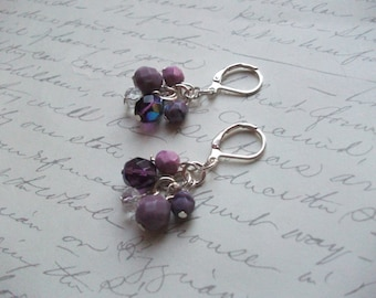 Purple and lilac cluster drop earrings
