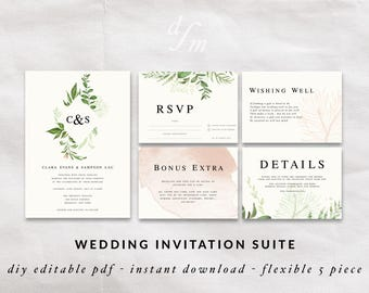 DIY invitation templates, Printable wedding invitation, Watercolor invitation suite, Wedding invites, Green leaves wreath, Monogrammed names