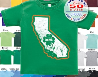 California Home State Irish Shamrock T-Shirt - Boys / Girls / Infant / Toddler / Youth sizes