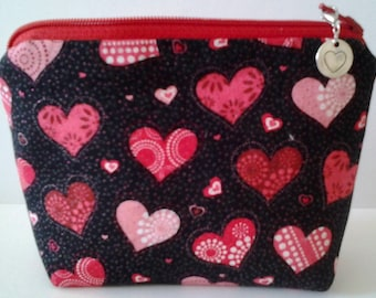 Valentine Heart Zipper Pull and a Valentine Pouch