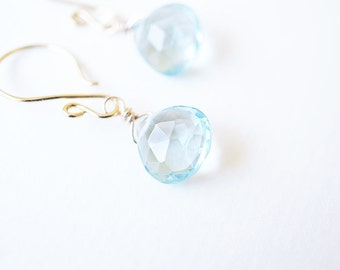 Earrings, Aquamarine Earrings, Gold Earrings, Birthstone Earrings, Dangle Earrings, Drop Earrings, Gemstone Earrings, March Birthstone, Gift