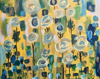 Yellow with Blue Flowers and Vines