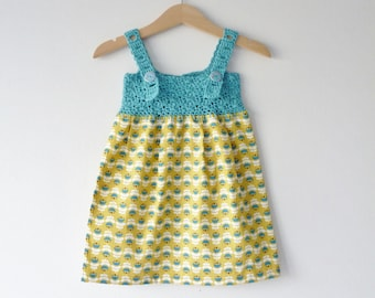 Organic baby sundress - 3 - 6 months - aqua and yellow - adjustable straps - crochet yoke - fabric skirt - organic cotton fabric and yarn