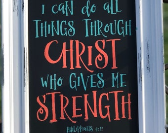 Vintage wall decor, phillipians 4:13 decor, Christan wall hanging, rustic wall art, scripture wall art, i can do all things through Christ