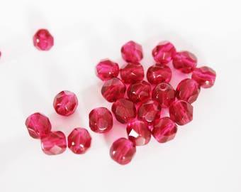 x 25 6mm Fuchsia faceted Czech glass beads