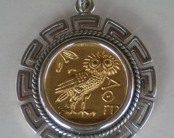 Owl Of Wisdom SIlver Pendant Maiander Design(Gold Plated) - Goddess Athena