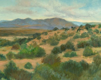 New Mexico Art Print, Ortiz Mountains Print, Southwest Art, Landscape Print, Home Decor Wall Art, New Mexico Oil Painting by P. Tarlow